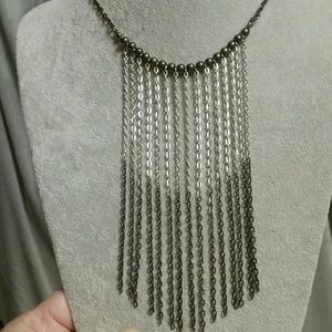 Jewelry - Ombre Fringe Gun Metal Silver to Black Necklace